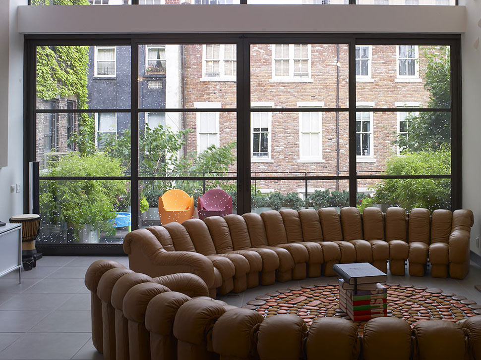 Living Space, Brown Sofas, Townhouse Renovation in Gramercy Park, New York