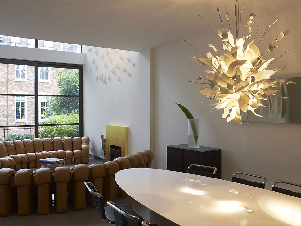 White Dining Table Lighting Townhouse Renovation In