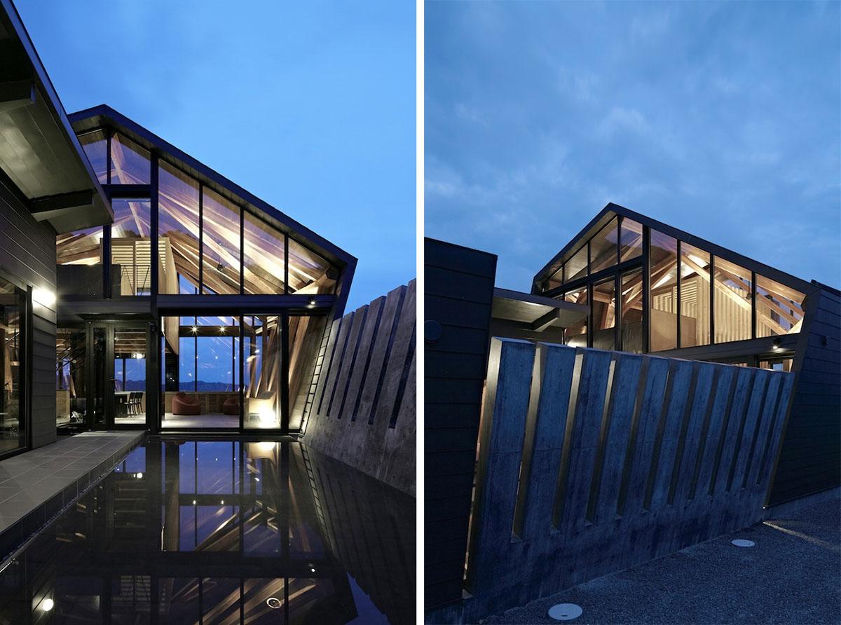 Glass Walls, Lighting, Villa SSK Overlooking Tokyo Bay in Chiba, Japan