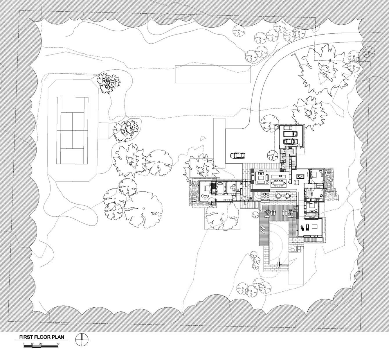 Site Plan, Weekend Residence in Illinois, USA