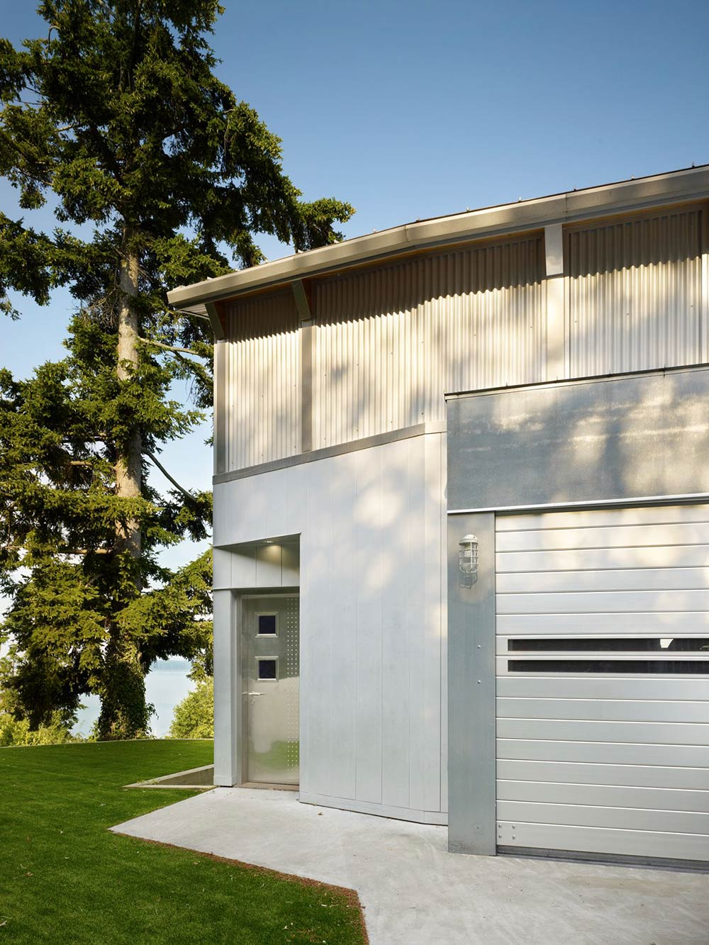Front Door, Garage, West Seattle Residence with Spectacular Inlet Views