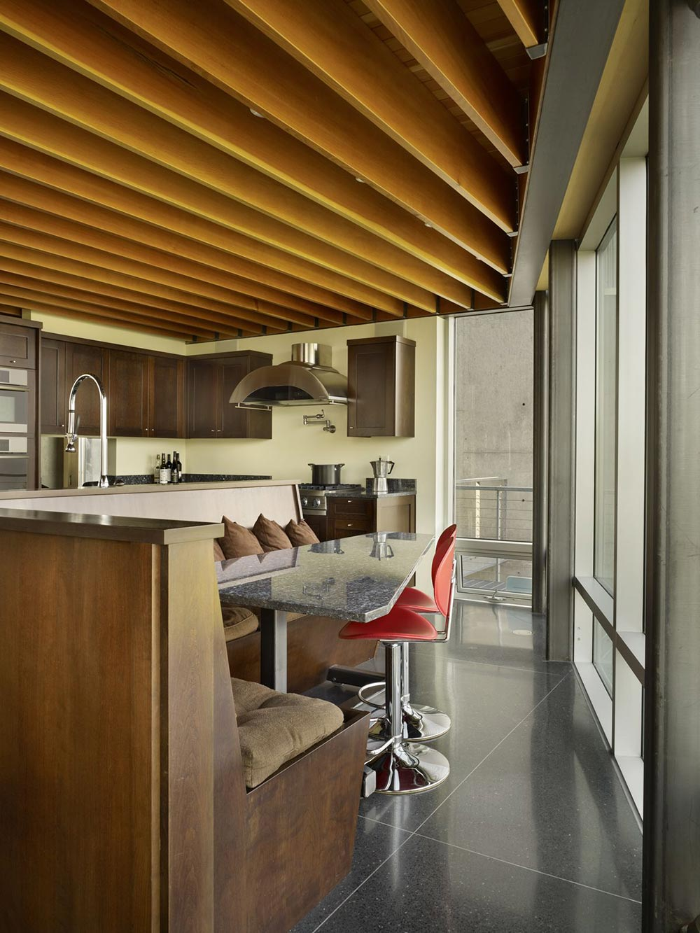 Kitchen, Breakfast Table, Marble Top, Red Chairs, West Seattle Residence with Spectacular Inlet Views