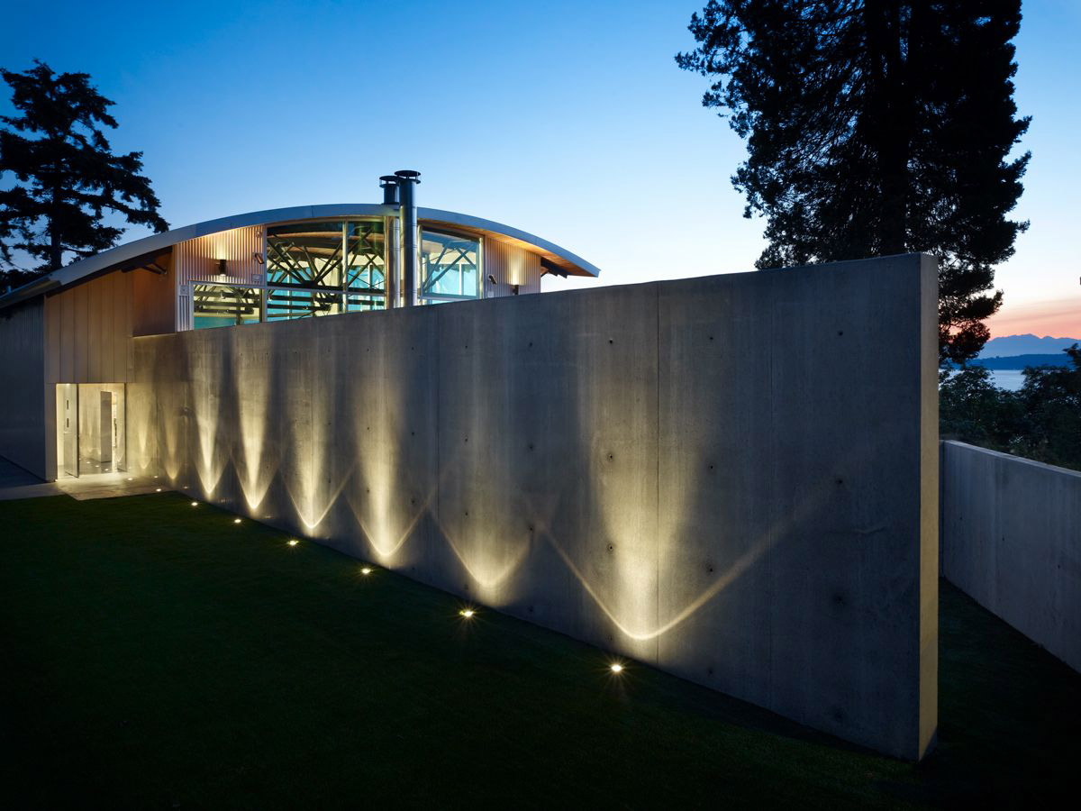 Lighting, Exposed Concrete Wall, West Seattle Residence with Spectacular Inlet Views