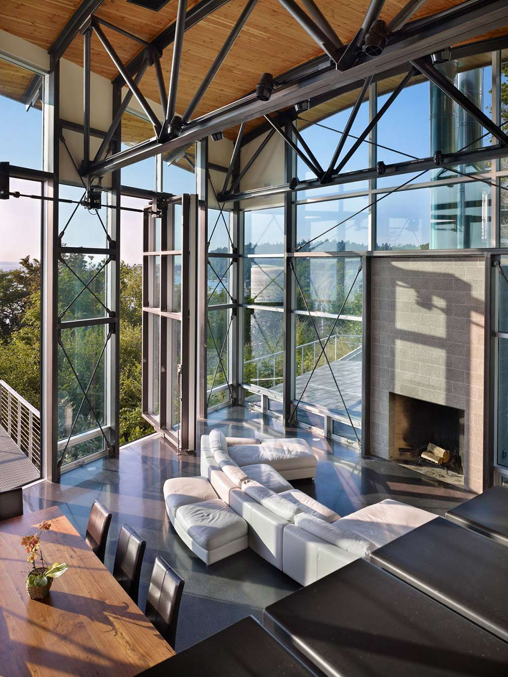 Living Space, White Sofas, Fireplace, West Seattle Residence with Spectacular Inlet Views