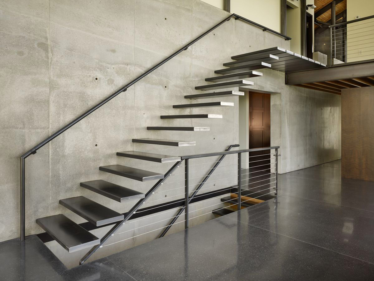 Modern Stairs, Concrete Wall, West Seattle Residence with Spectacular Inlet Views