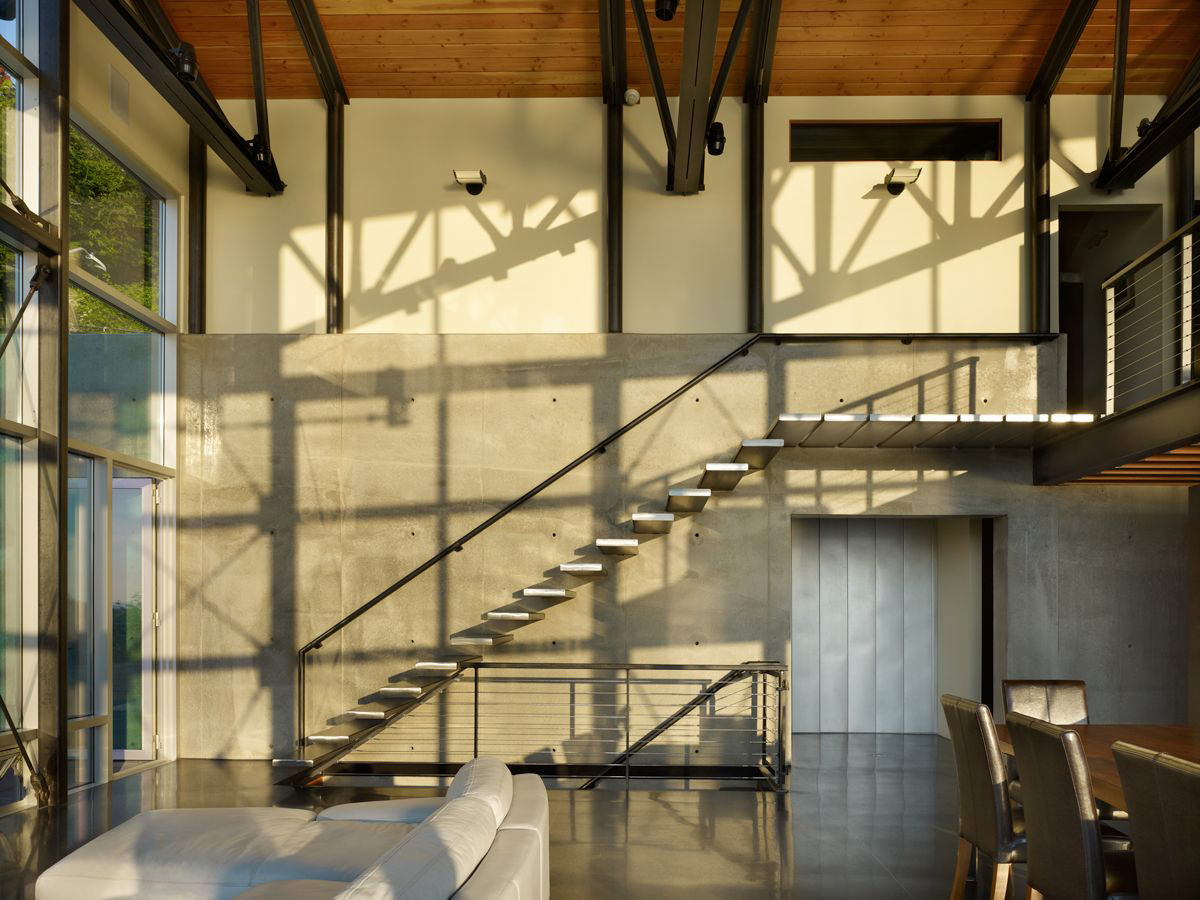 Modern Stairs, Exposed Concrete Wall, West Seattle Residence with Spectacular Inlet Views
