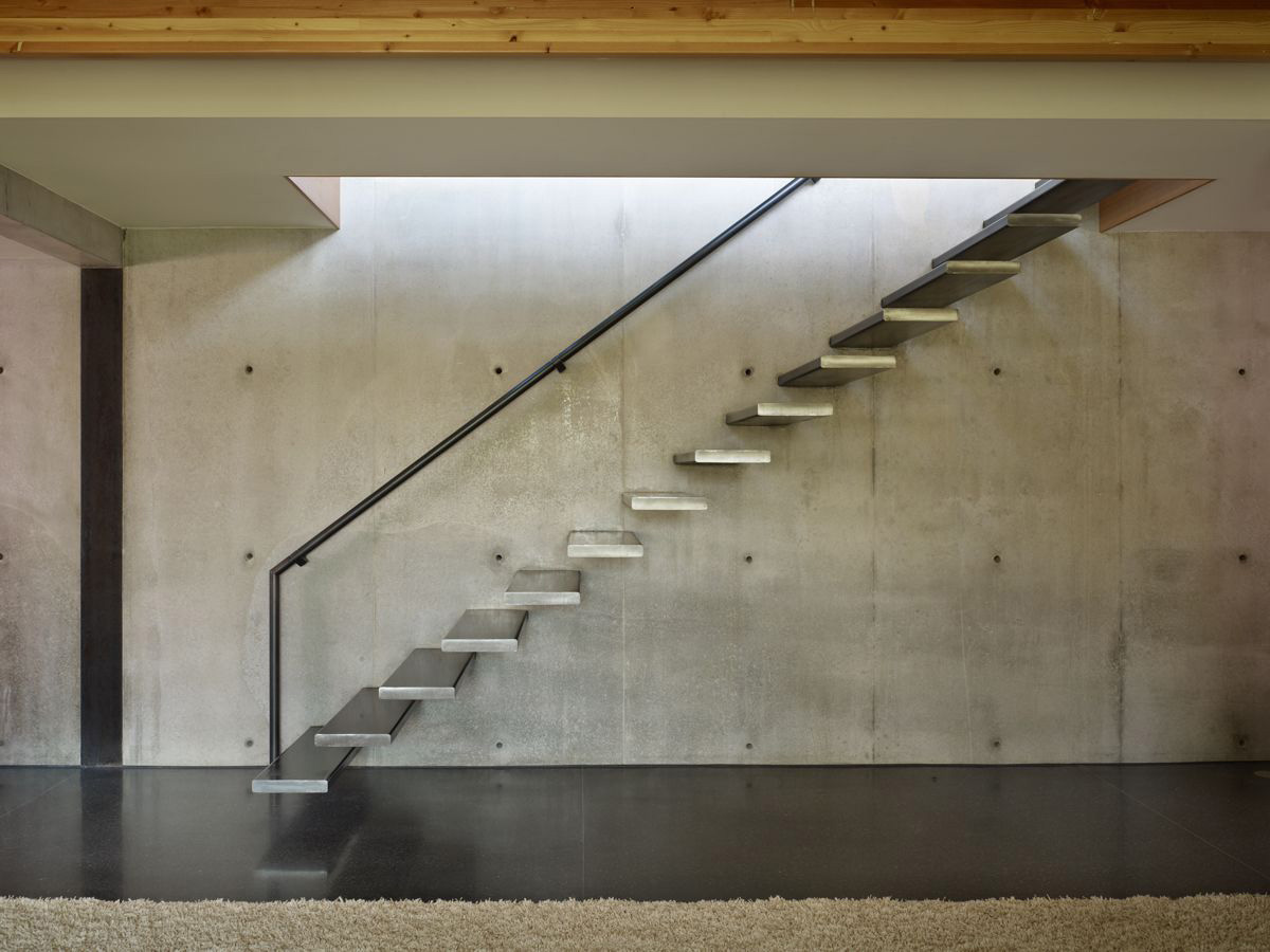 Stairs, Exposed Concrete Wall, West Seattle Residence with Spectacular Inlet Views