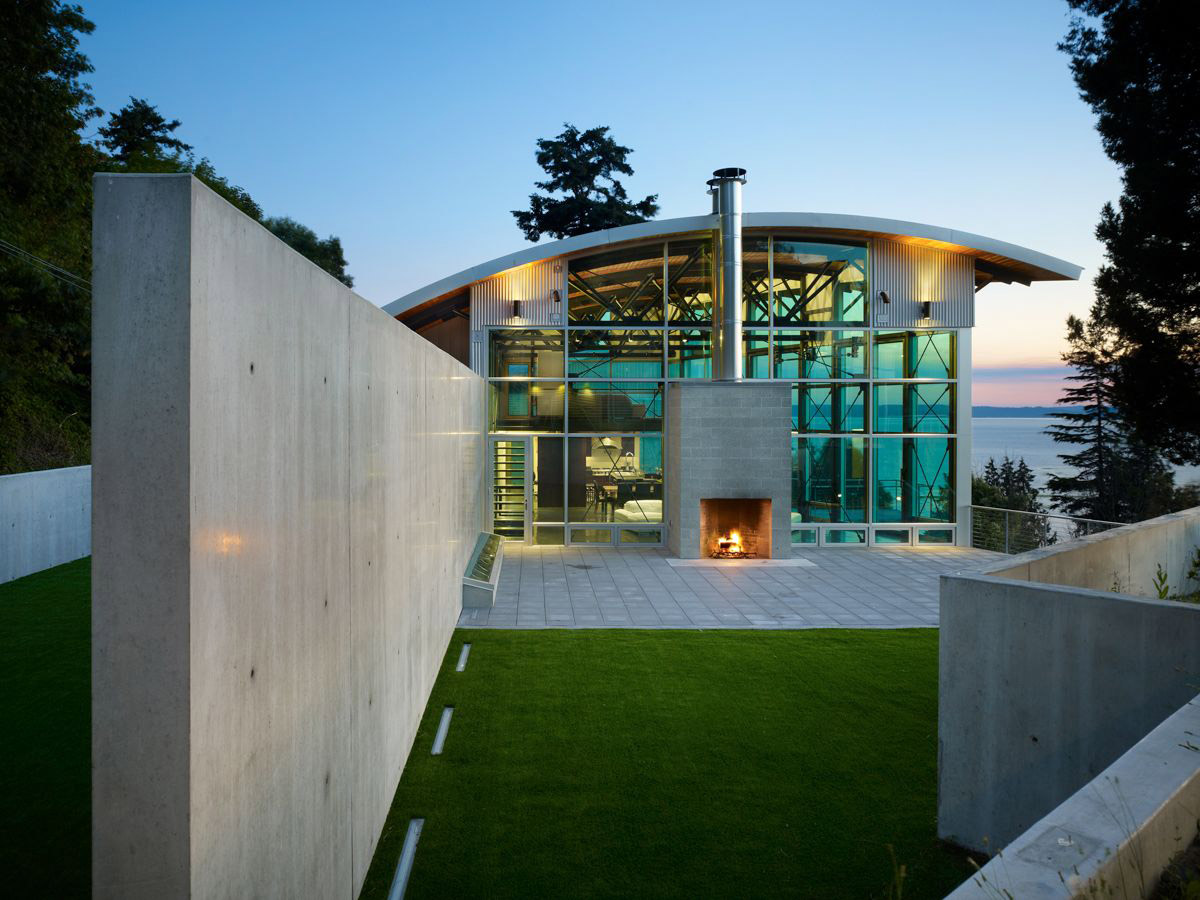 Terrace, Concrete Wall, Garden, West Seattle Residence with Spectacular Inlet Views