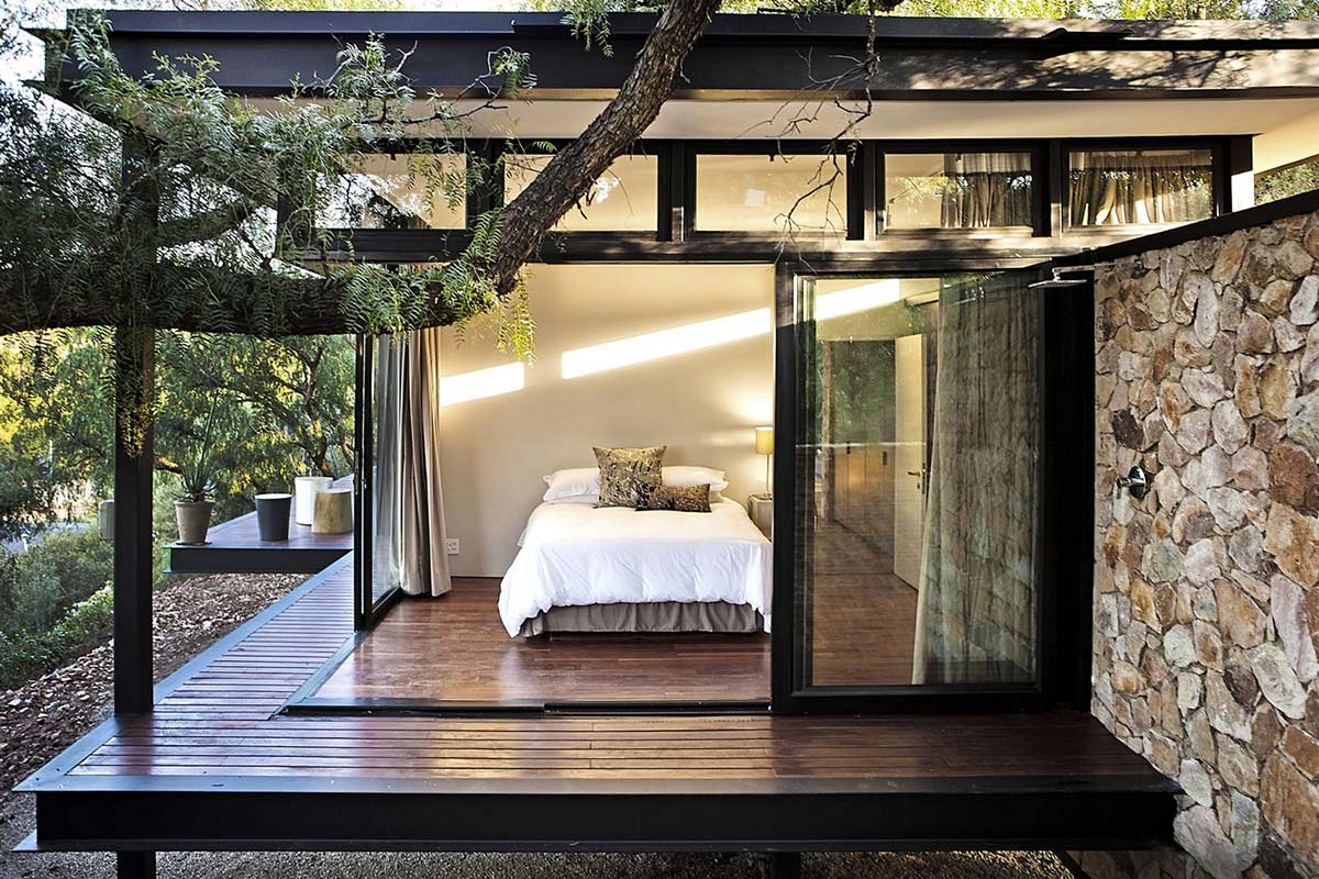 Bedroom, Decking, Compact Contemporary Home in Johannesburg, South Africa