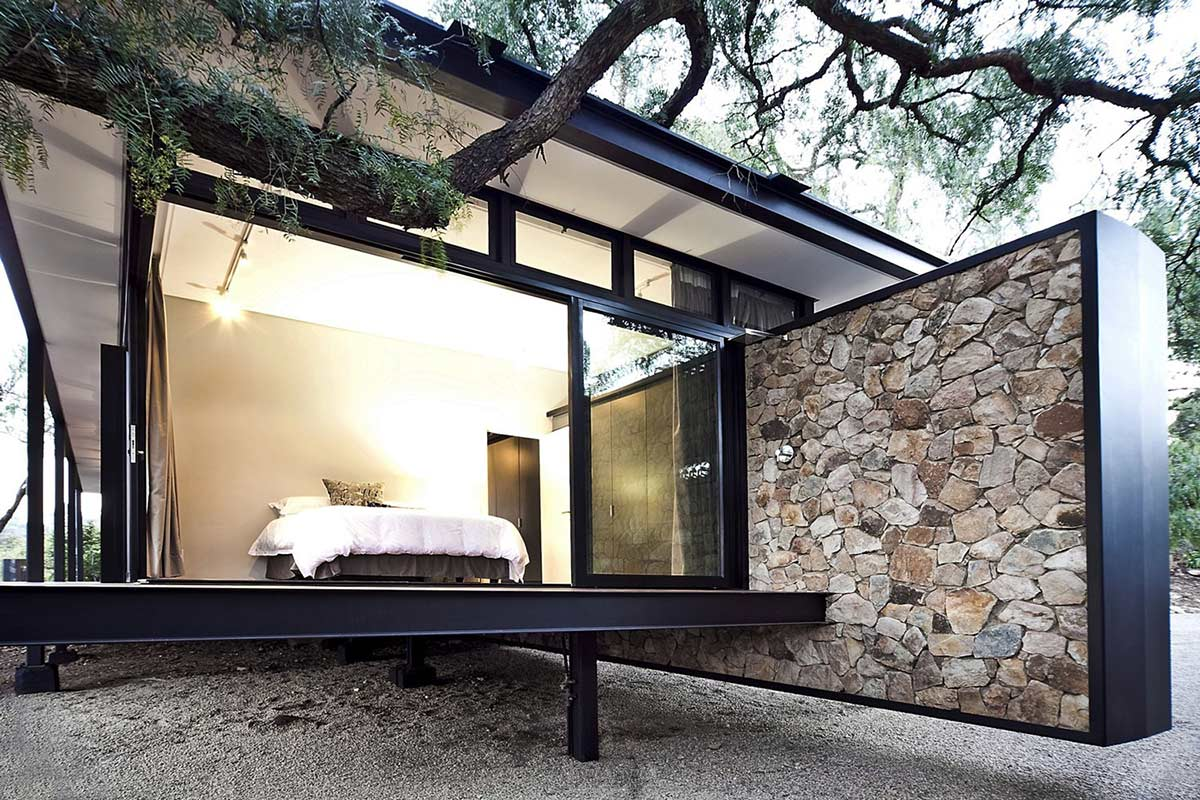 Bedroom, Glass Walls, Compact Contemporary Home in Johannesburg, South Africa