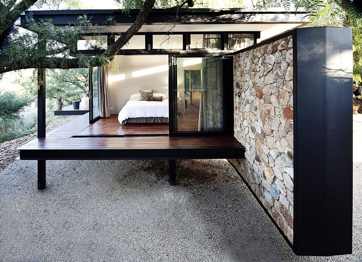 Bedroom, Stone Wall, Compact Contemporary Home in Johannesburg, South Africa