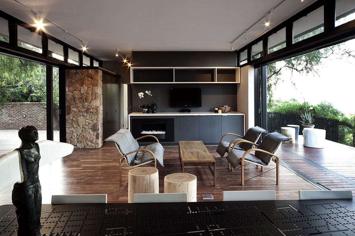 Contemporary Fireplace, Compact Contemporary Home in Johannesburg, South Africa