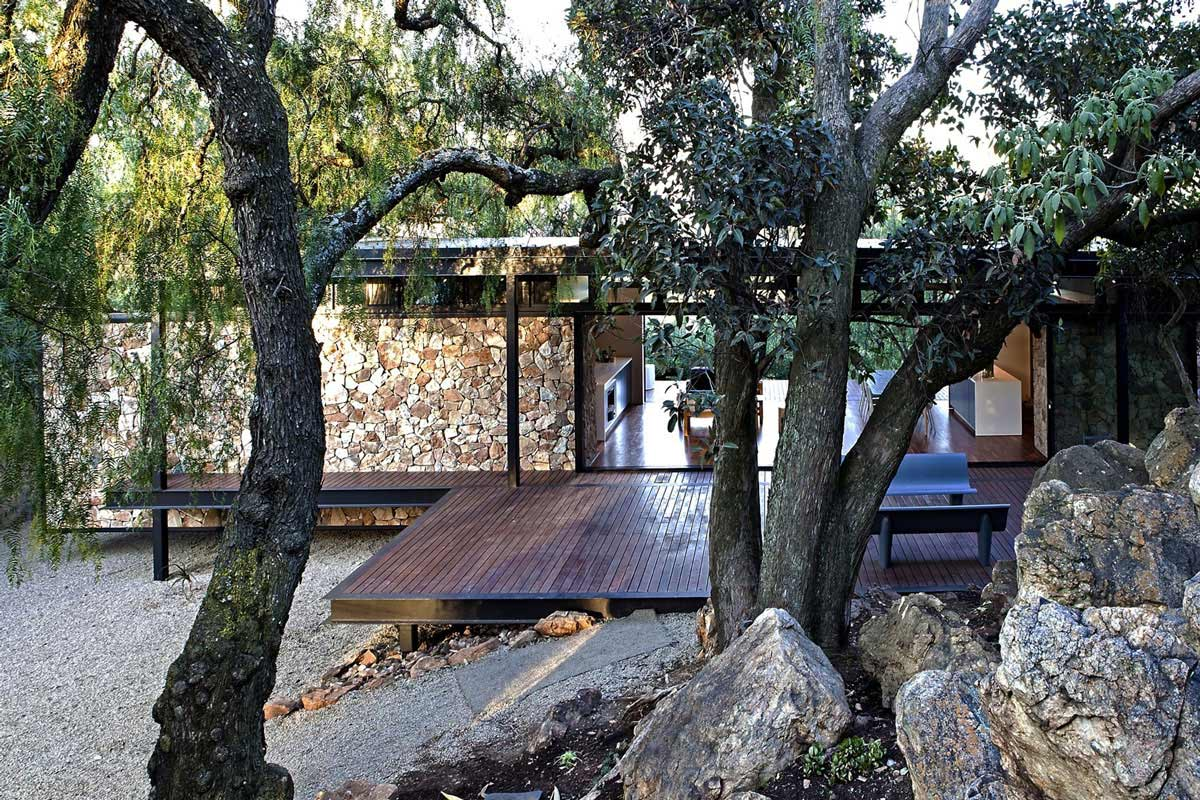 Wood Decking, Compact Contemporary Home in Johannesburg, South Africa