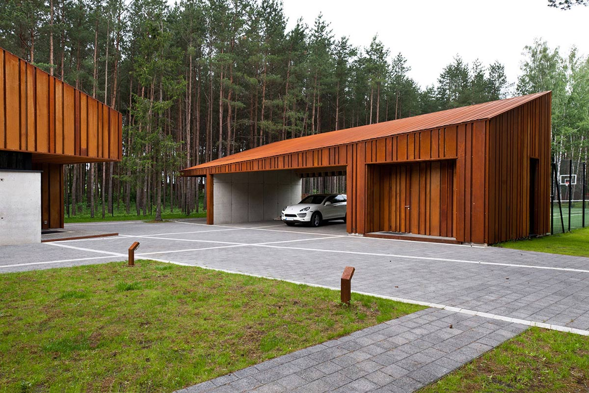 Car Port, House in the Woods of Kaunas, Lithuania