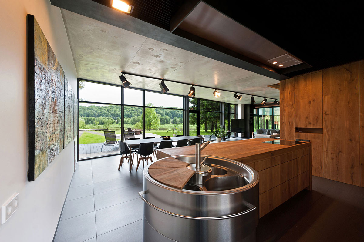 Modern Kitchen, House in the Woods of Kaunas, Lithuania