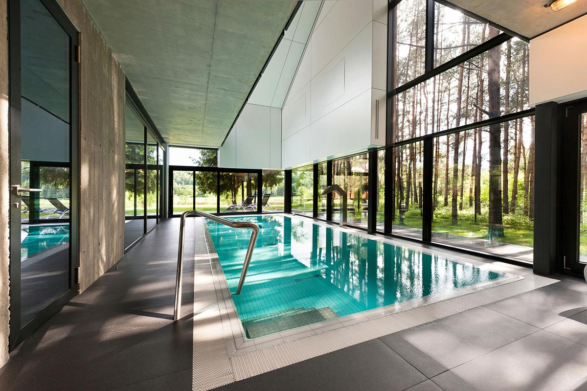 Pool, Glass Walls, House in the Woods of Kaunas, Lithuania