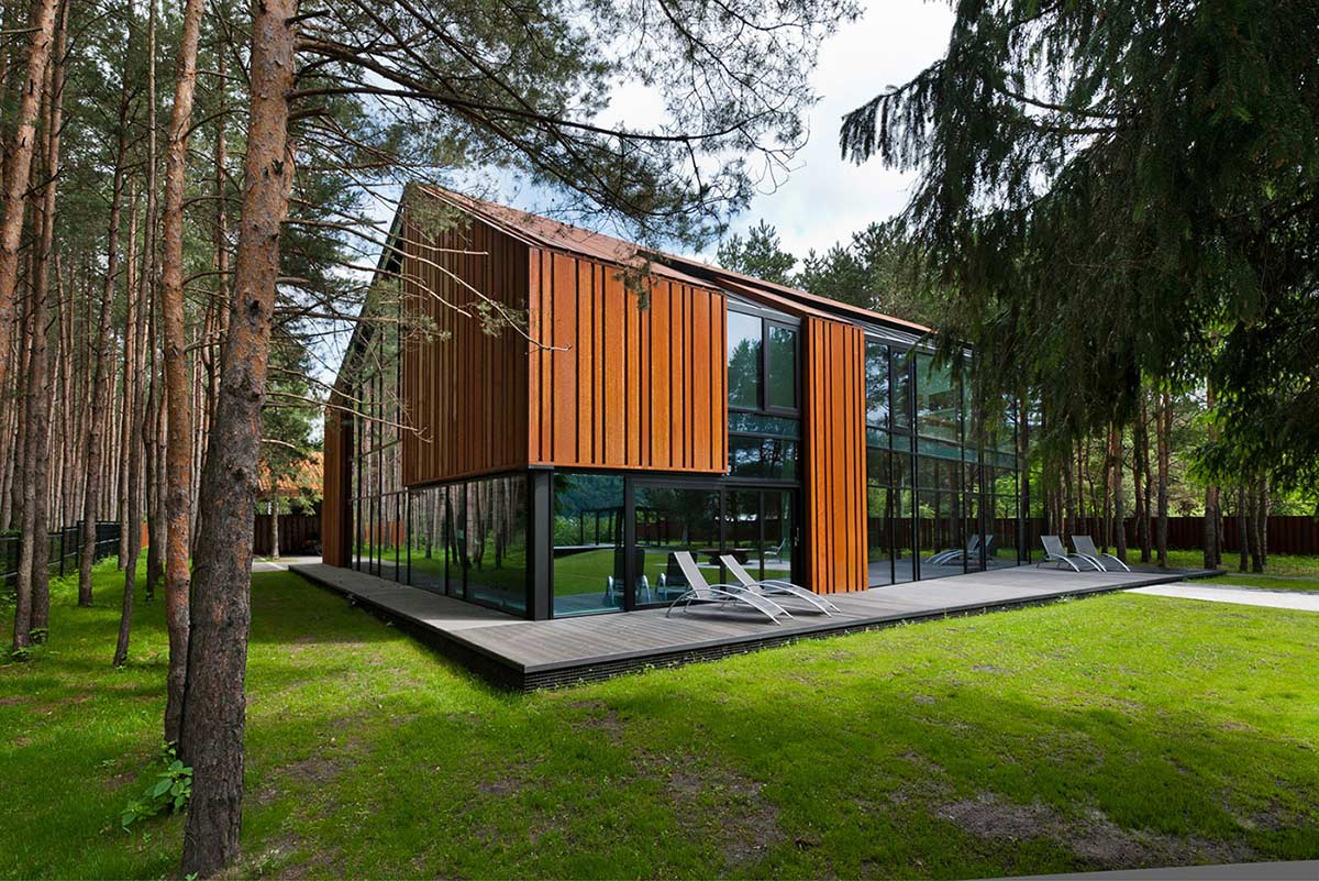 Terrace, House in the Woods of Kaunas, Lithuania