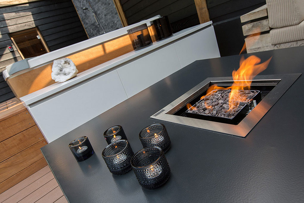 Fireplace & Coffee Table, Aquatic Backyard in The Netherlands by Centric Design Group