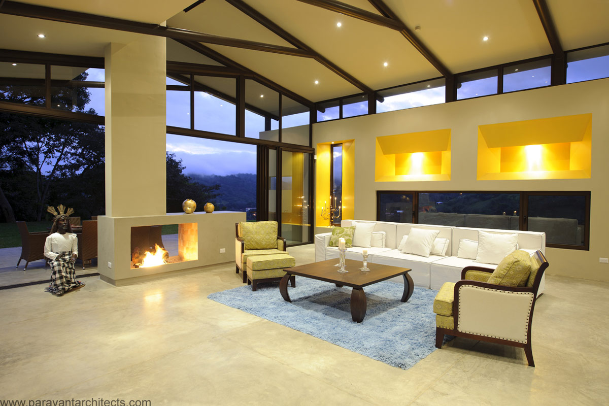 Contemporary Fireplace, Living Space, Areopagus Residence in Atenas, Costa Rica by Paravant Architects