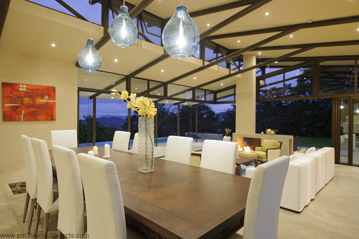 Dining Table, Lighting, Areopagus Residence in Atenas, Costa Rica by Paravant Architects
