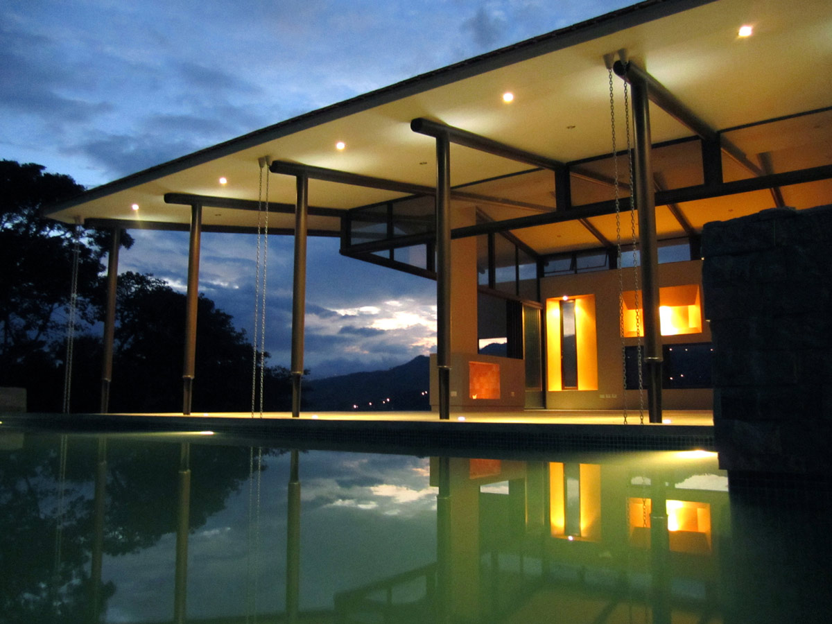 Dusk, Outdoor Pool, Lighting, Areopagus Residence in Atenas, Costa Rica by Paravant Architects