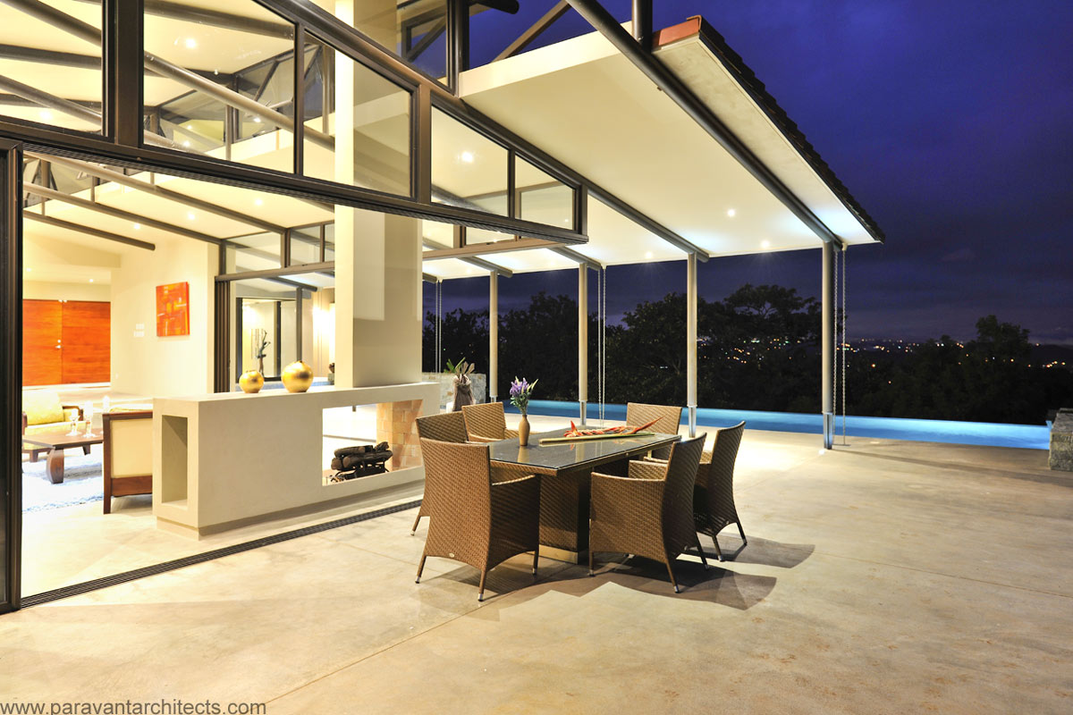 Terrace, Evening Views, Areopagus Residence in Atenas, Costa Rica by Paravant Architects