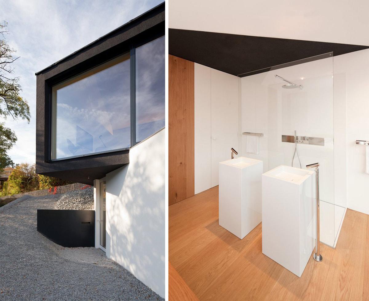 Glass Shower, Modern Sinks, Black on White House in Wenzenbach, Germany by Fabi Architekten