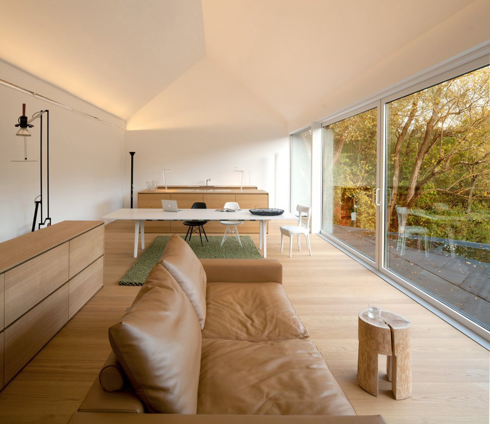 Open Plan Kitchen, Dining, Living Space, Black on White House in Wenzenbach, Germany by Fabi Architekten