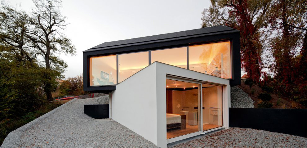 Patio Doors, Black on White House in Wenzenbach, Germany by Fabi Architekten