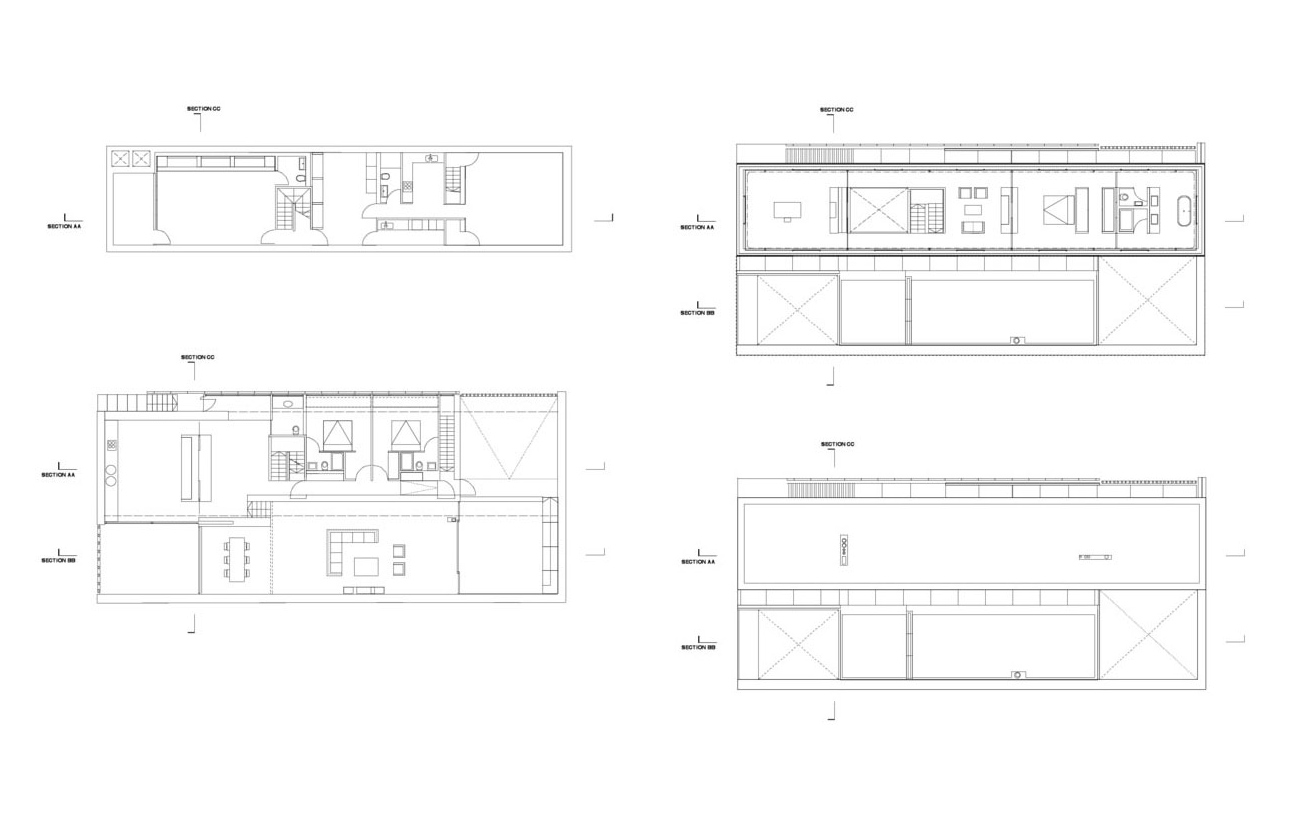 Floor Plans, Burren House in Dublin, Ireland by Níall McLaughlin Architects