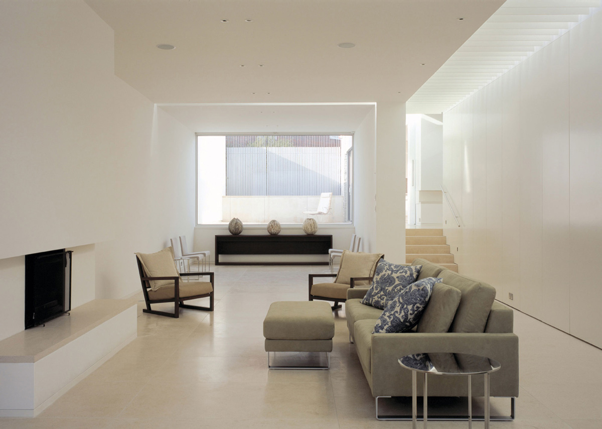 Sofa, Fireplace, Living Space, Burren House in Dublin, Ireland by Níall McLaughlin Architects