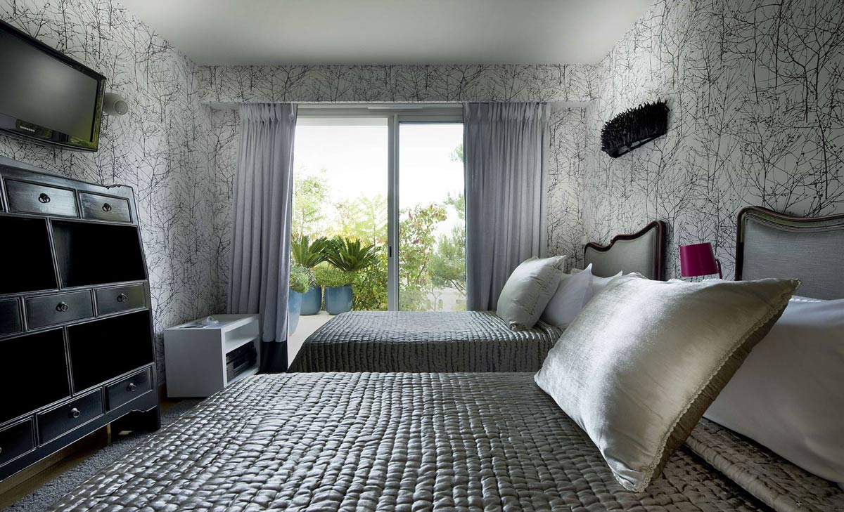 Bedroom, Wallpaper, Villa on the Cap Ferrat, Côte d'Azur, France