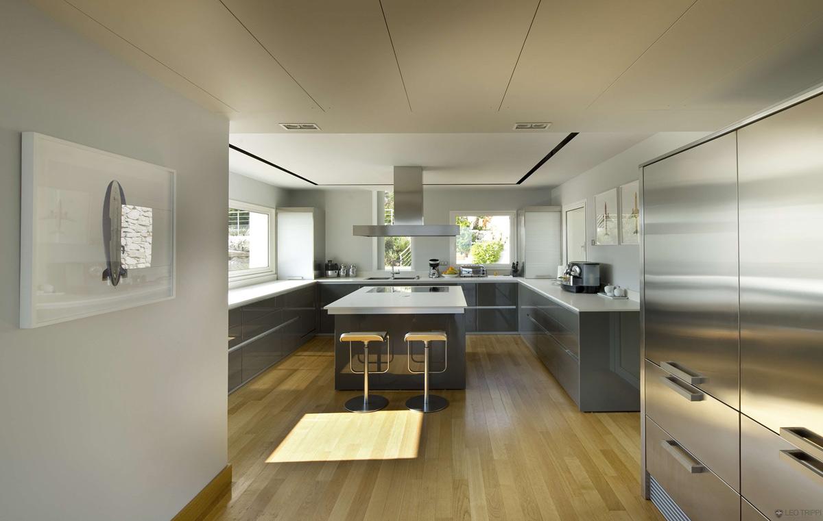 Contemporary Kitchen, Villa on the Cap Ferrat, Côte d'Azur, France