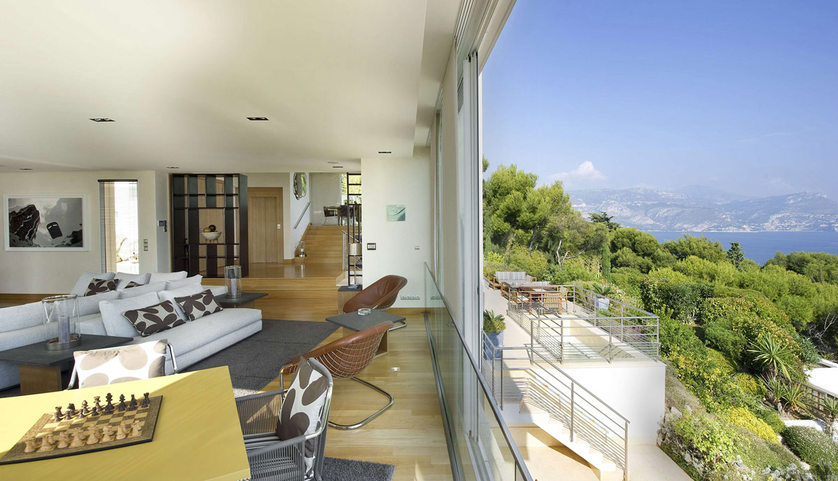 Living Space, Patio Doors, Views, Villa on the Cap Ferrat, Côte d'Azur, France