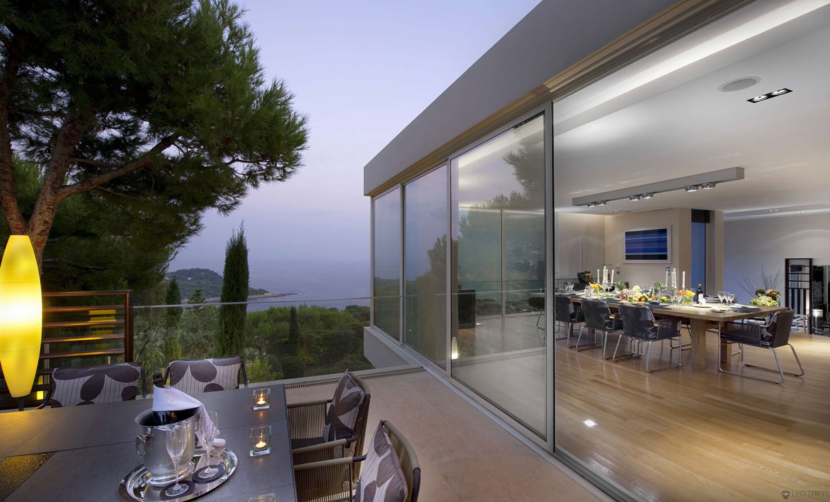 Dining Space, Terrace, Glass Fence, Villa on the Cap Ferrat, Côte d'Azur, France