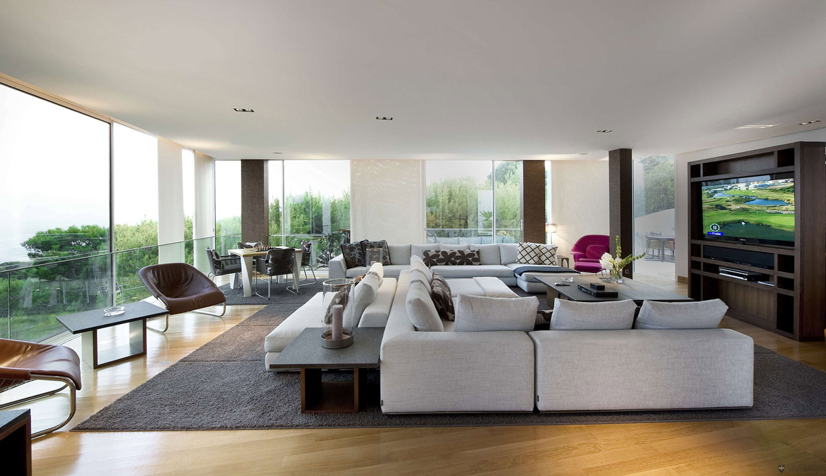 Sofas, Living Space, Glass Walls, Villa on the Cap Ferrat, Côte d'Azur, France