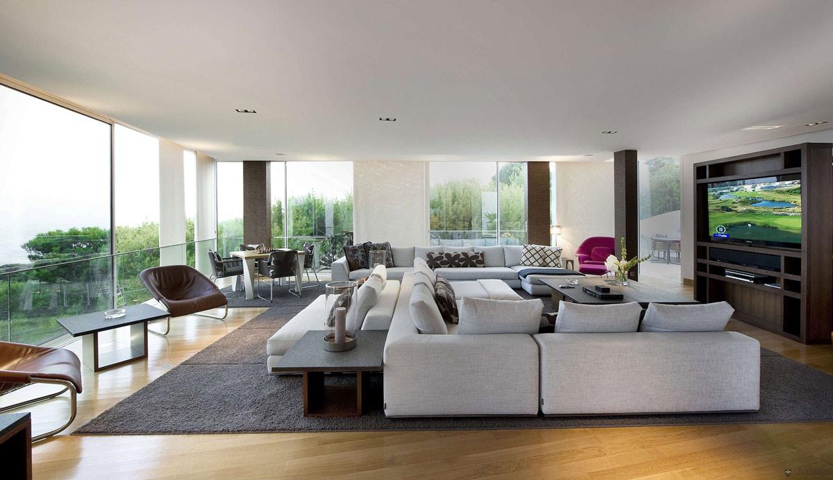 Sofas, Living Space, Glass Walls, Villa on the Cap Ferrat, Côte d'Azur, France