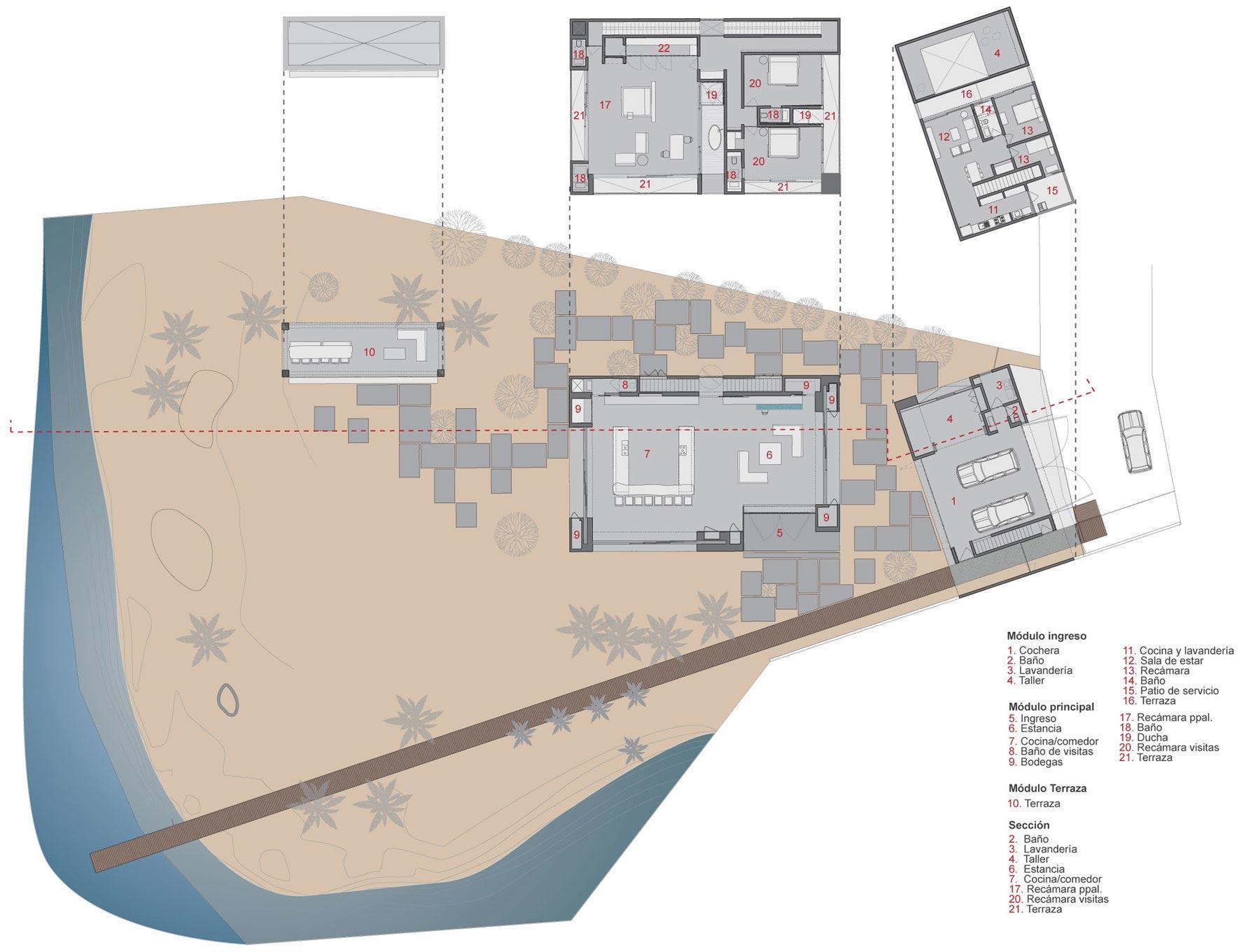 Floor Plans, Casa La Punta in Punta Mita, Mexico by Elías Rizo Arquitectos