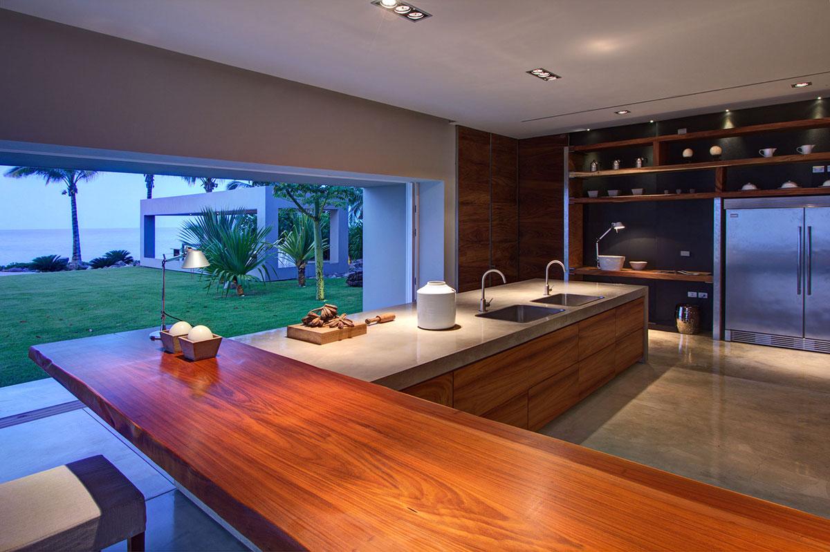 Kitchen Island, Casa La Punta in Punta Mita, Mexico by Elías Rizo Arquitectos