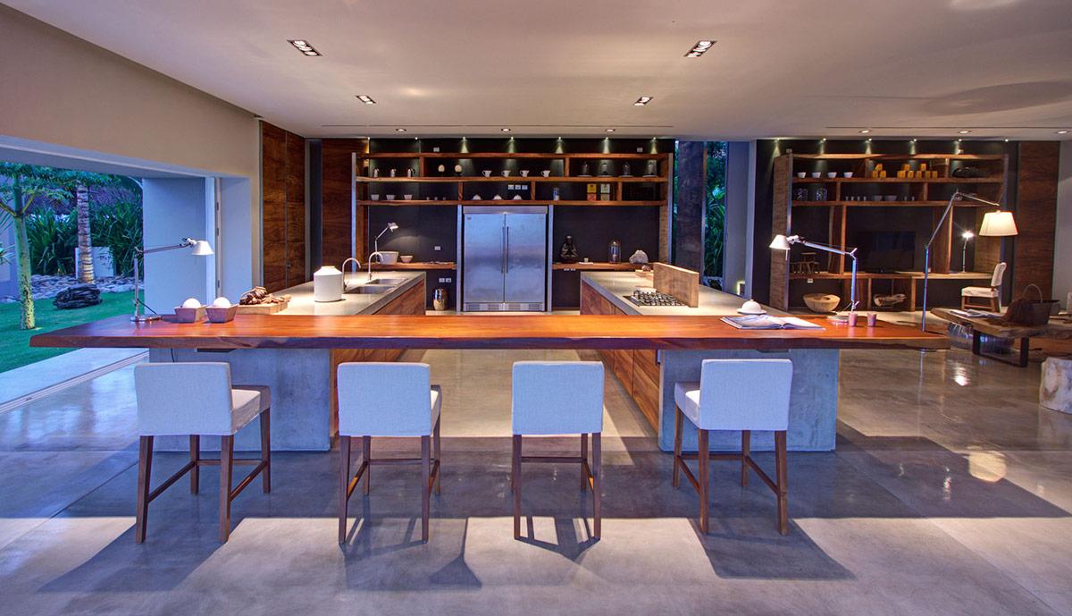 Kitchen Island, Breakfast Bar, Casa La Punta in Punta Mita, Mexico by Elías Rizo Arquitectos