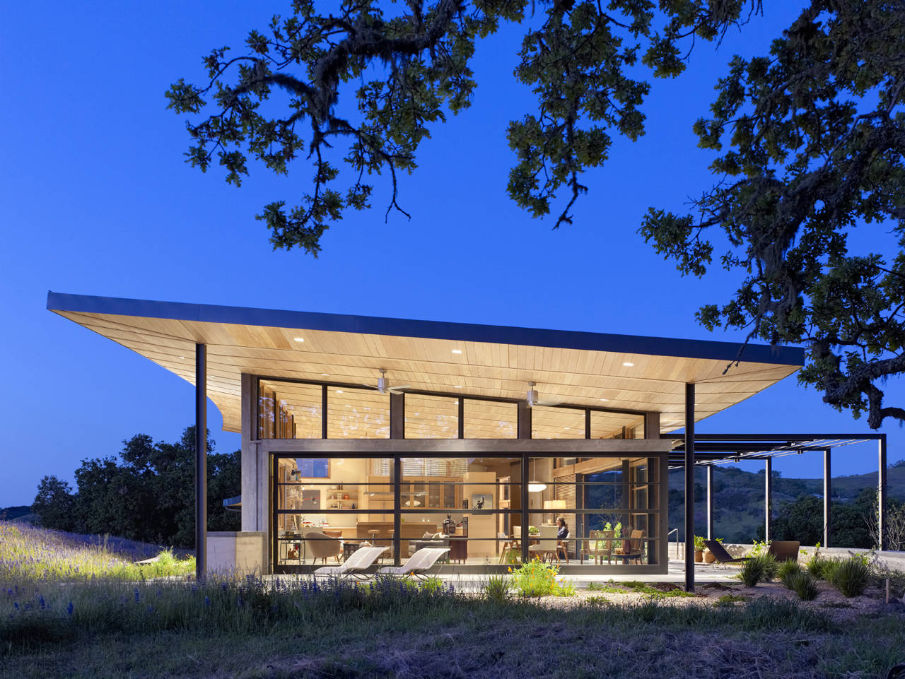 Evening Lighting, Caterpillar House in Carmel, California by Feldman Architecture