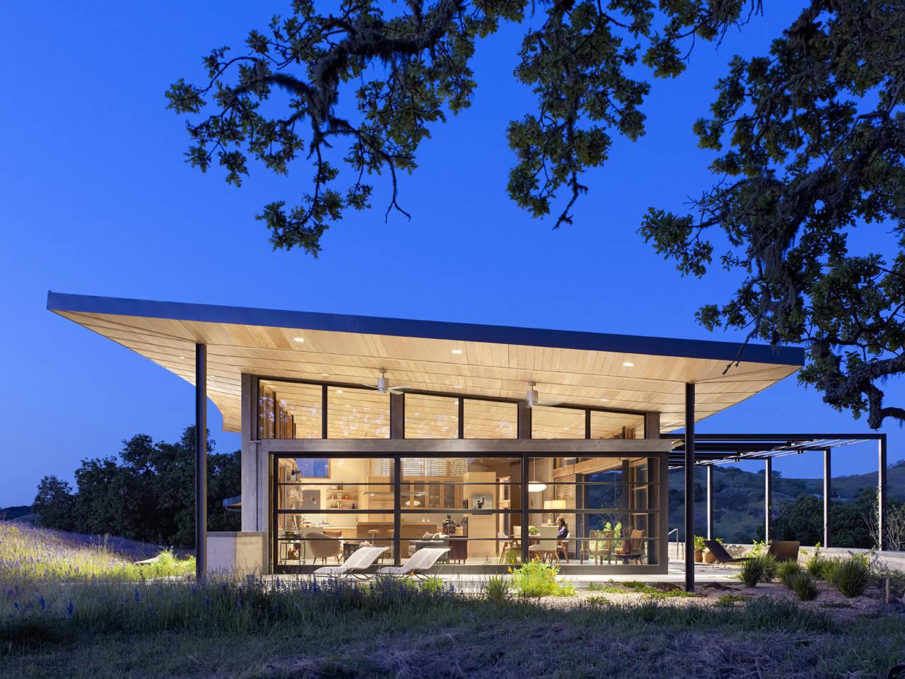 Evening Lighting, Caterpillar House in Carmel, California by Feldman Architecture