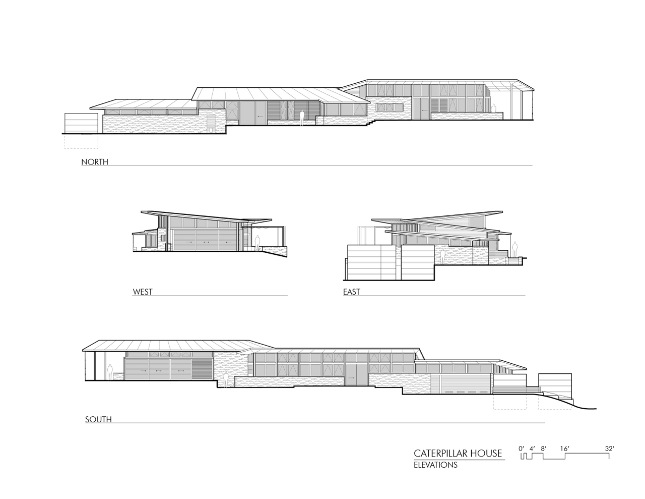 Elevations, Caterpillar House in Carmel, California by Feldman Architecture