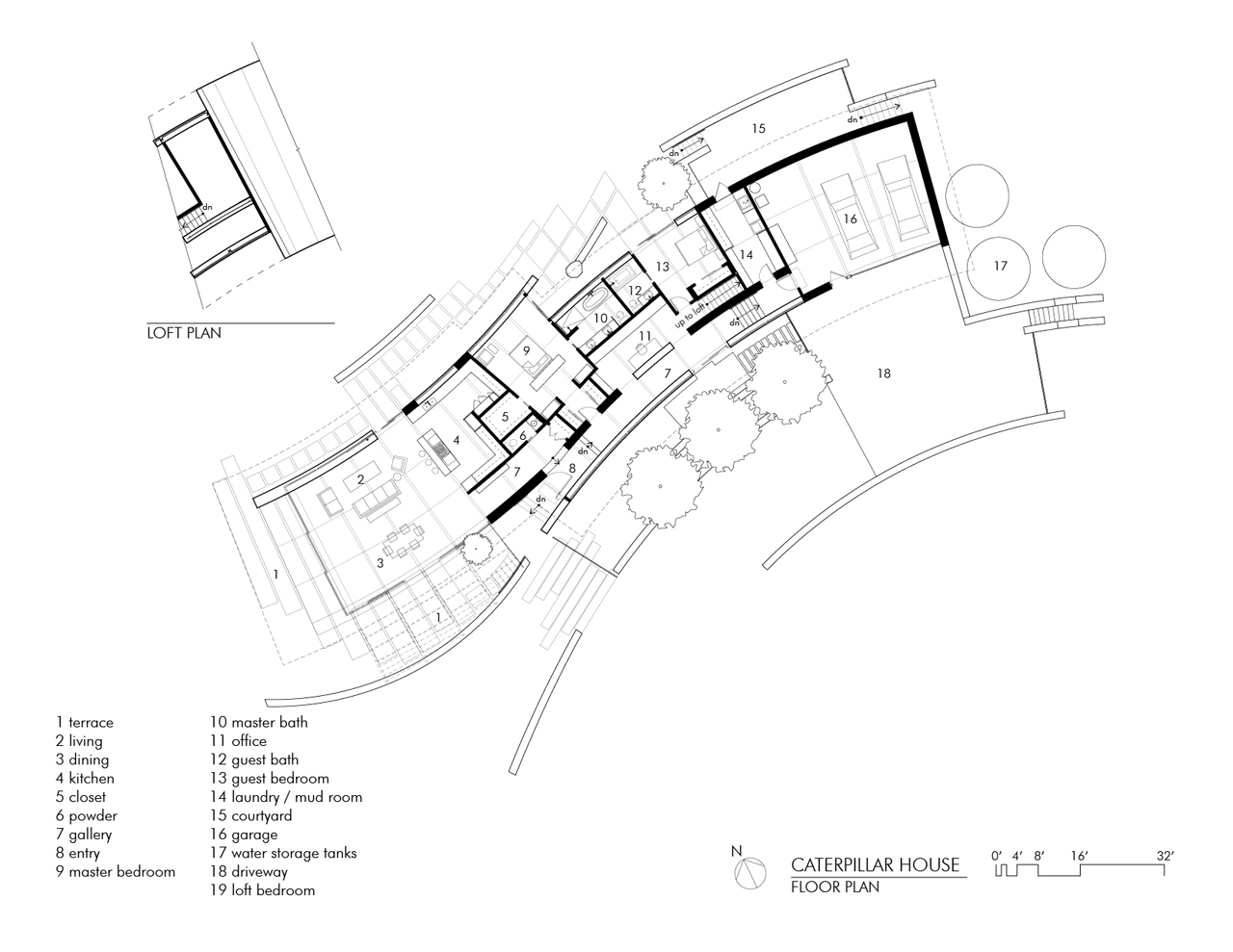 Floor Plan, Caterpillar House in Carmel, California by Feldman Architecture