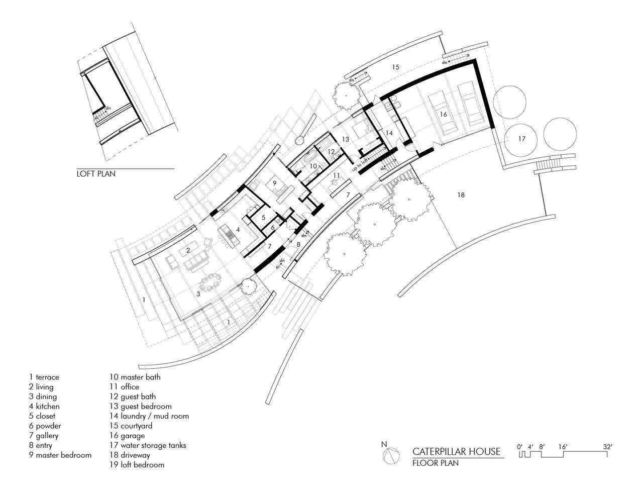 Floor Plan, Caterpillar House in Carmel, California by Feldman Architecture