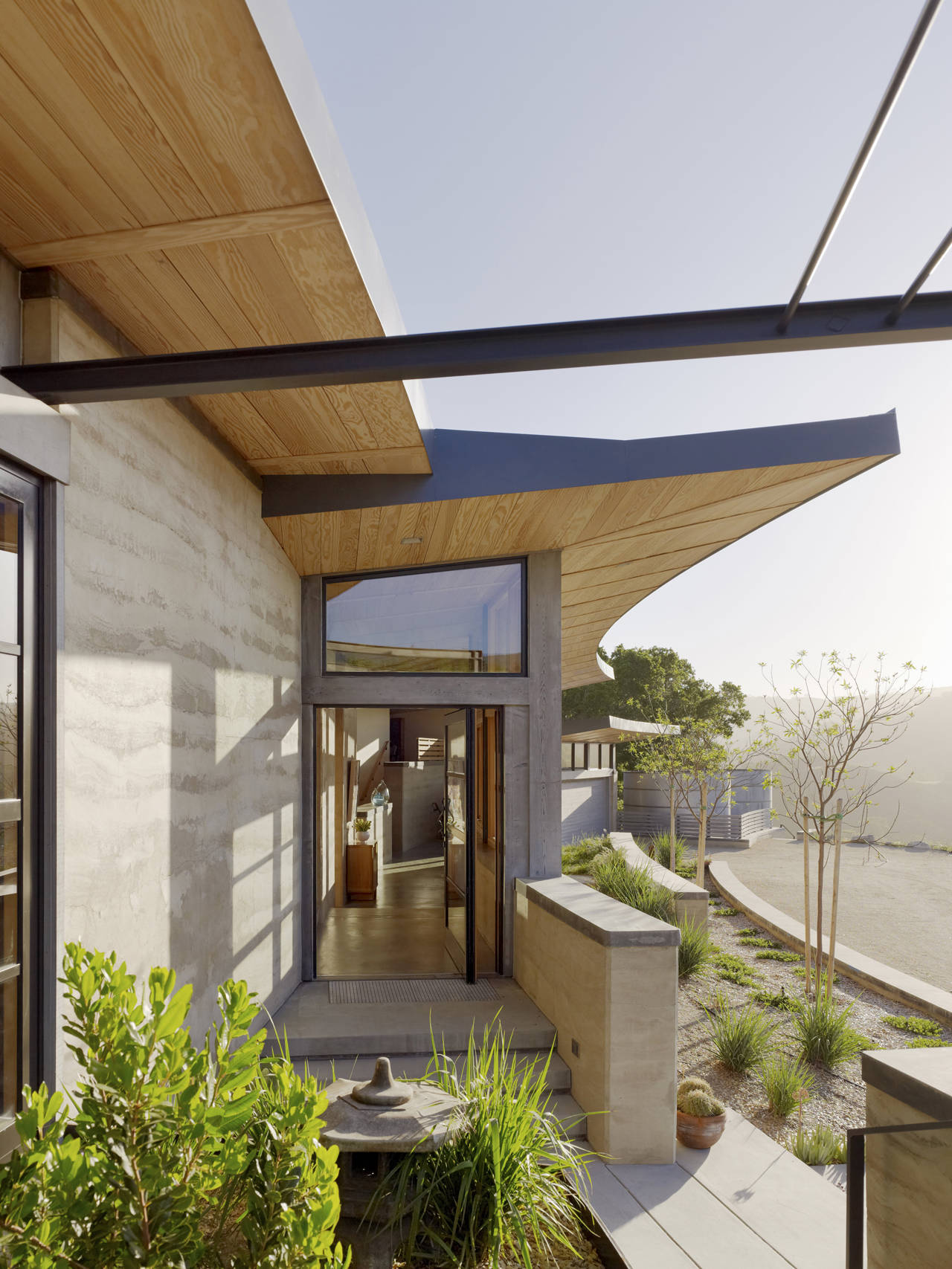 Glass Front Door, Caterpillar House in Carmel, California by Feldman Architecture