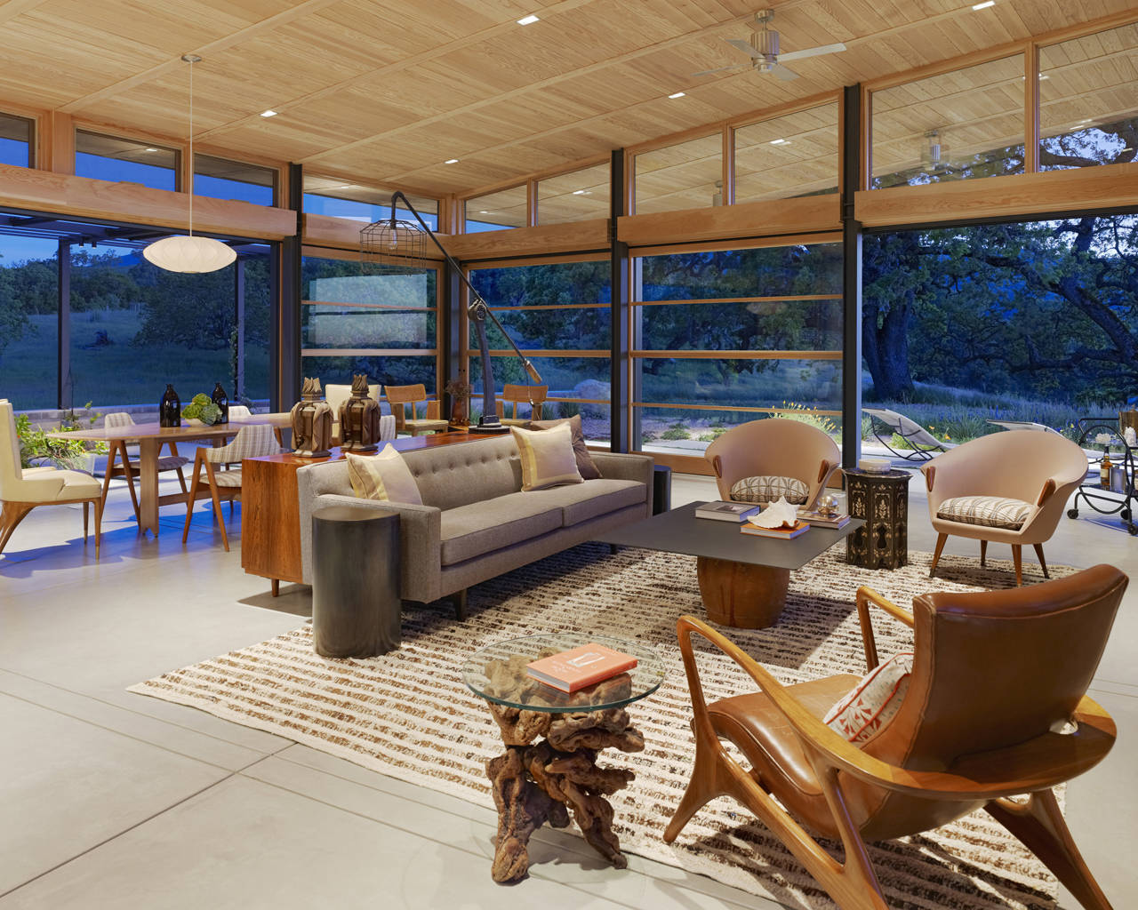 Living, Dining Space, Caterpillar House in Carmel, California by Feldman Architecture