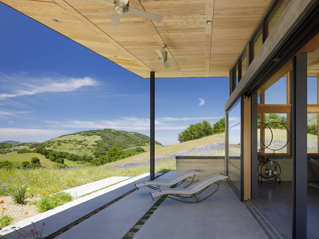 Terrace, Hill Views, Caterpillar House in Carmel, California by Feldman Architecture