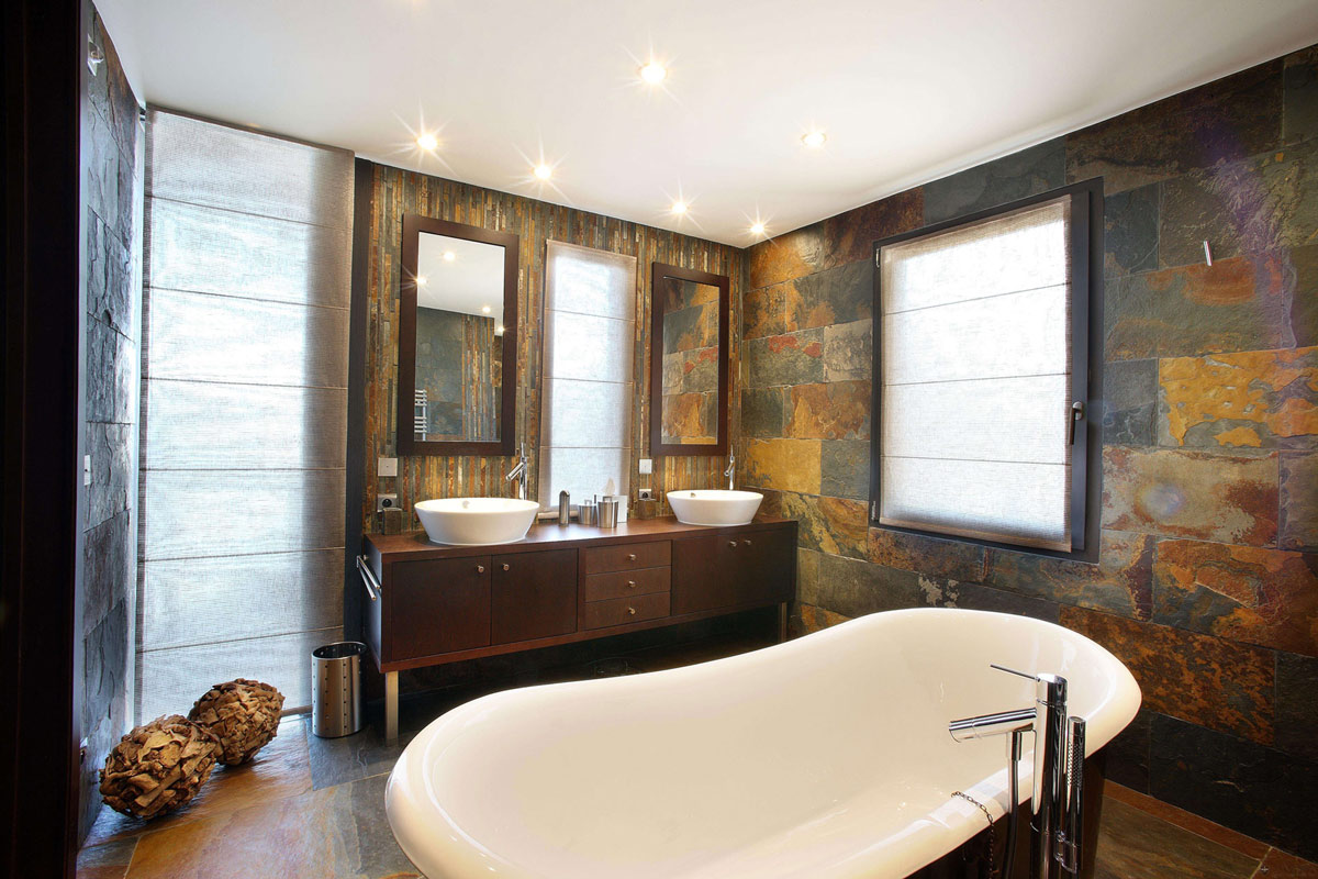 Bathroom, Slate Tiles, Bath, Chalet E in Courchevel 1850, France