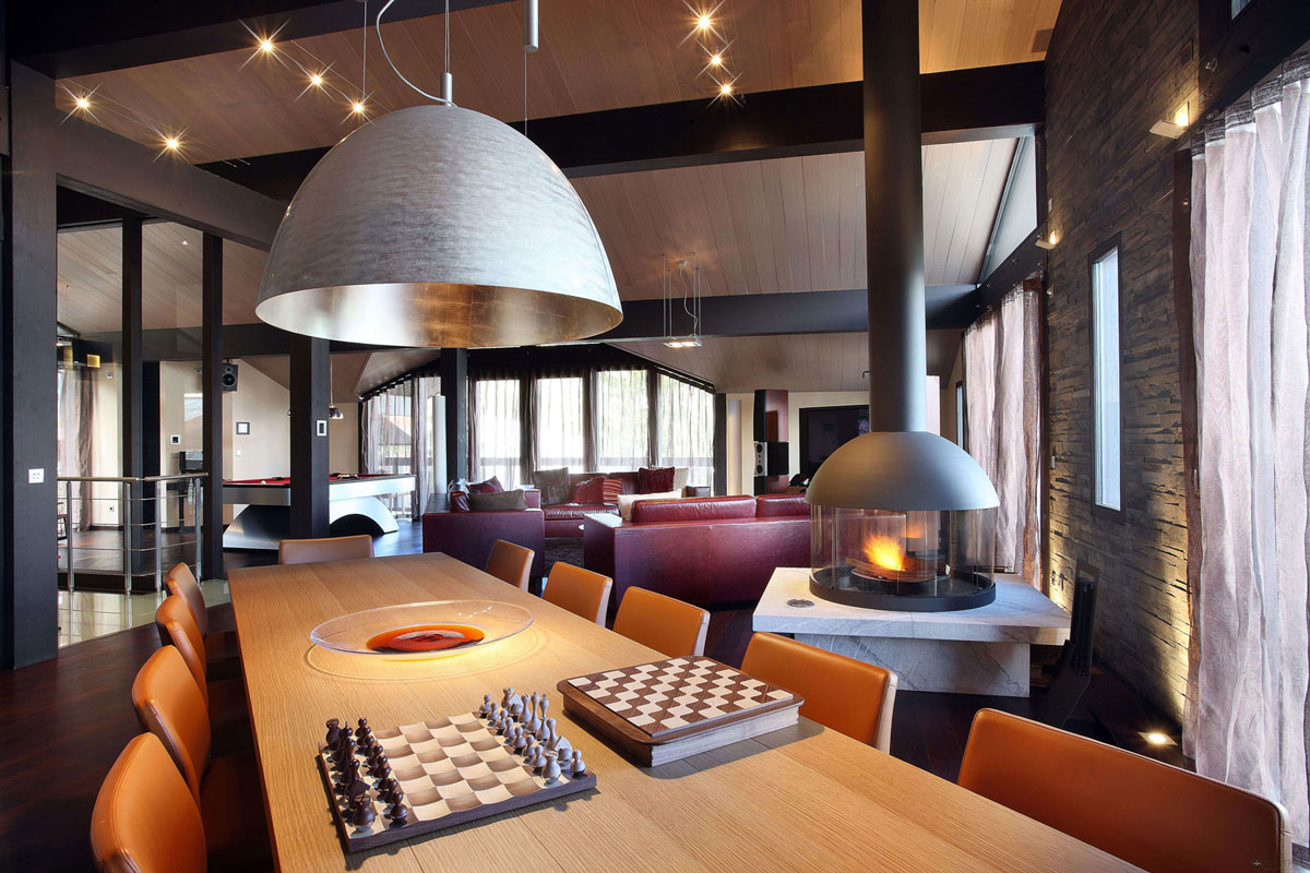 Contemporary Fireplace, Dining Table, Chalet E in Courchevel 1850, France